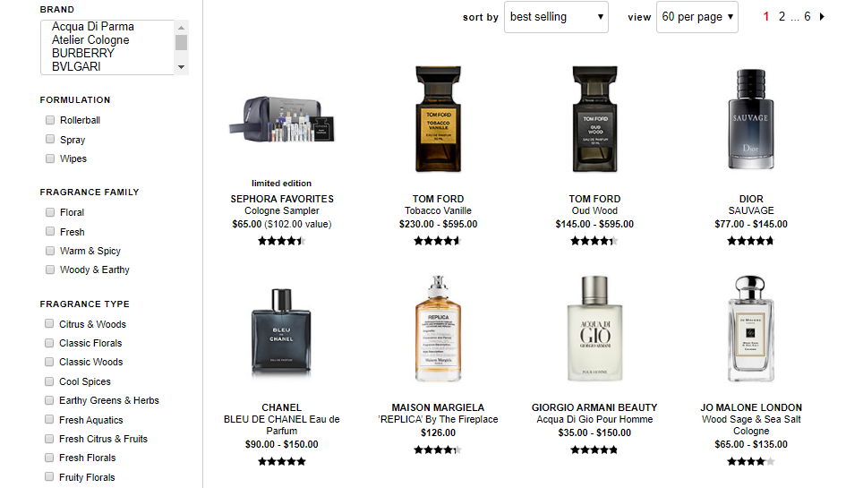 Sephora - Men fragrances featuring fragrance filters